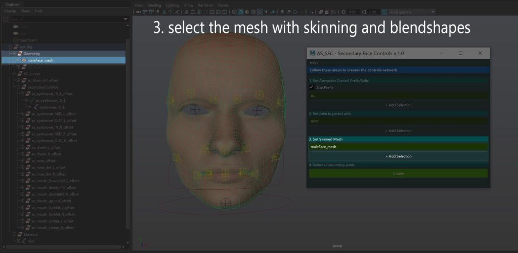 Select the mesh with skinning and blendshapes