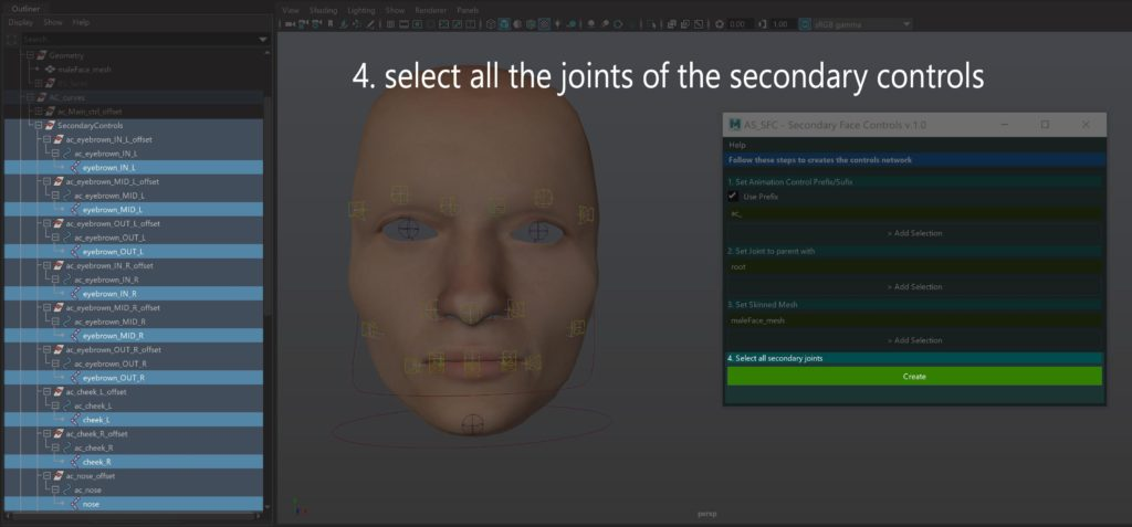 Select all the joint of the secondary controls